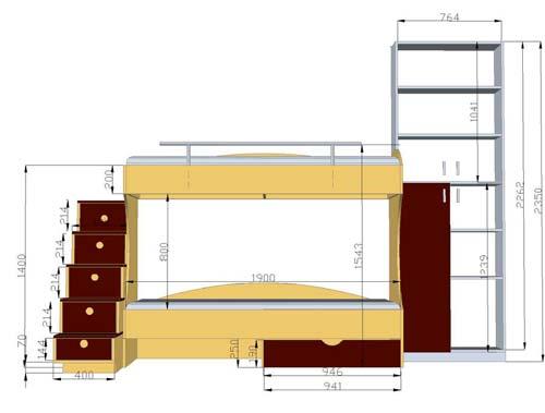 На чертеже важно расставить все размеры мебели