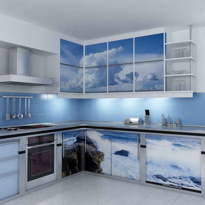 Обновление кухонного гарнитура при помощи самоклеющейся пленки.